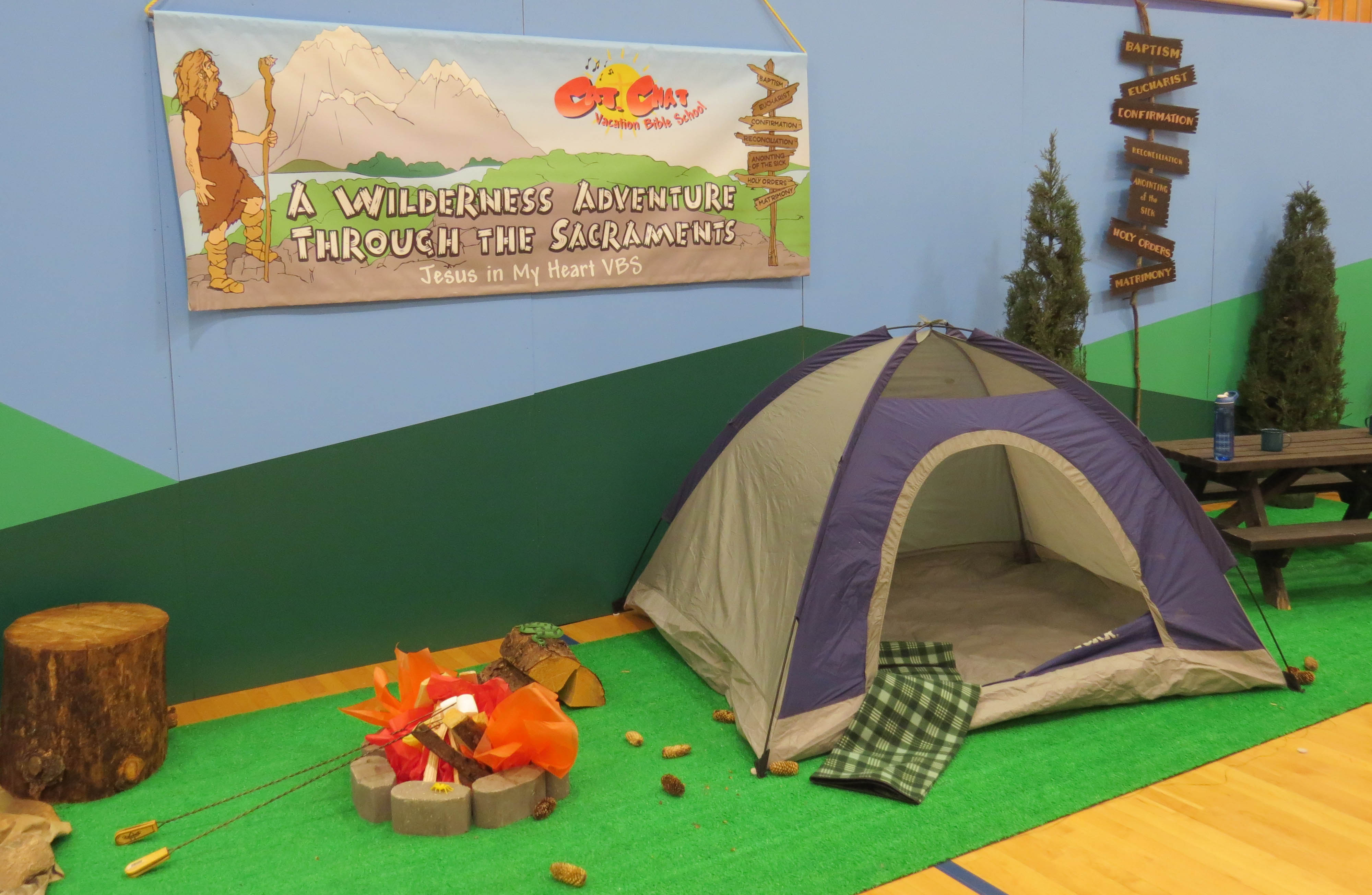 Wilderness display with tent