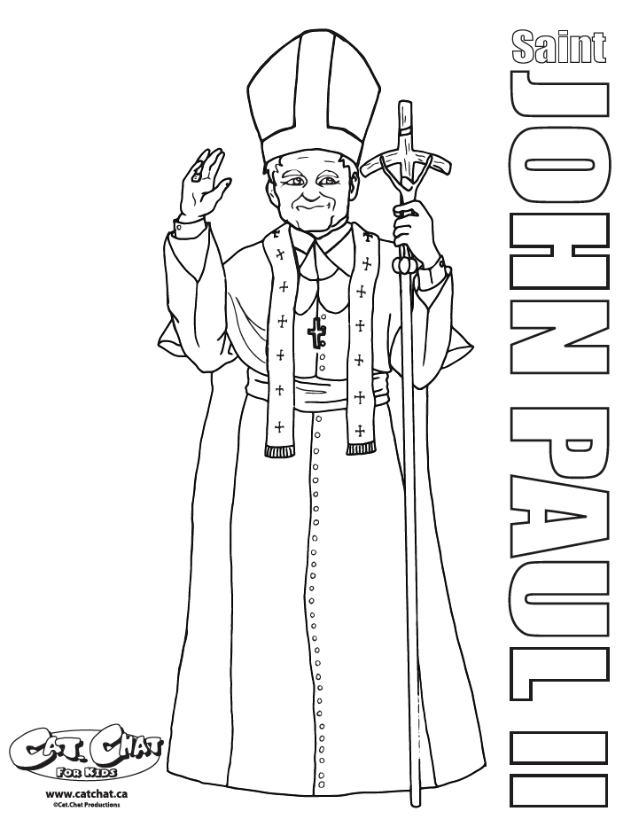St. John Paul II Cat.Chat Coloring page